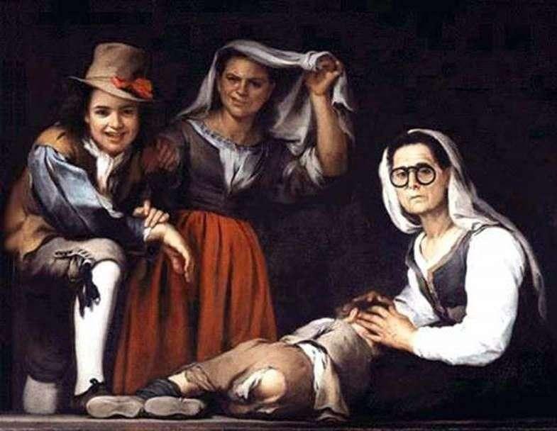 Cztery postacie na schodku   Bartolome Esteban Murillo